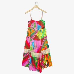 Anthro Farm Rio Palila Fringe Tiered Midi Dress